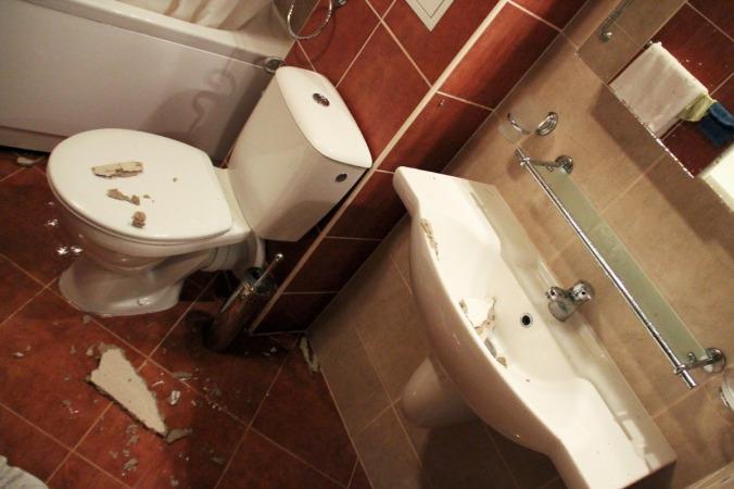 Wasserschaden im Badezimmer