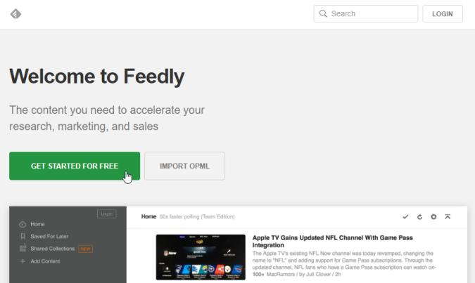 Besucht Feedly.com und legt einen Account an