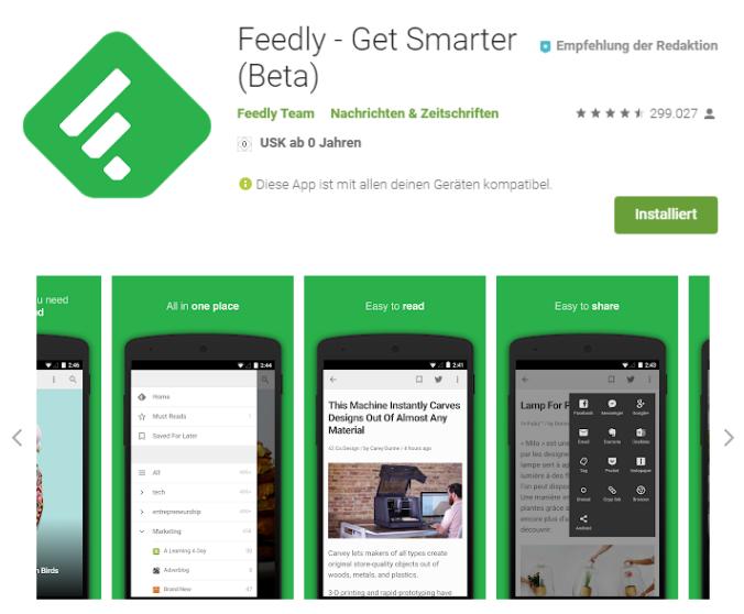 Die Feedly-App erleichtert das mobile Lesen