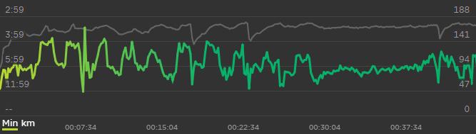 Intervalltraining: 10 Sets à 300 Meter Tempo und 200 Meter Erholung