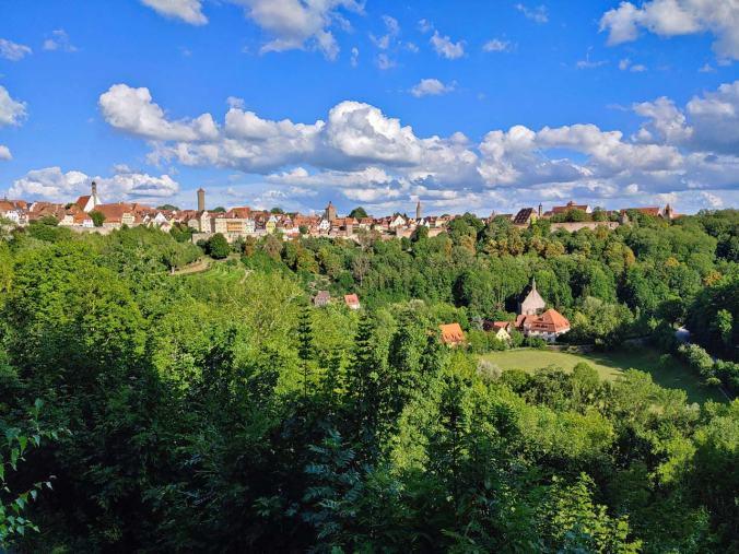 Der Blick vom Schlossgarten zurück zum Ausgangspunkt unserer Wanderung