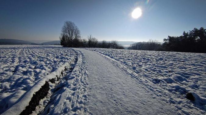 Ein eiskalter Lauf über die Felder