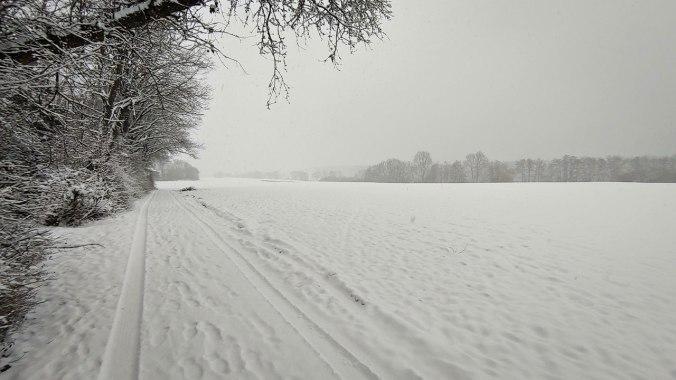 Heute mal durch den Schneesturm gelaufen