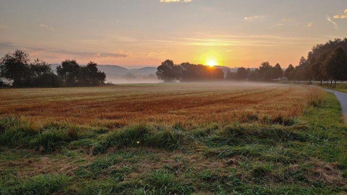 Ein Lauf der aufgehenden Sonne entgegen